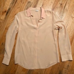 Club Monaco pink silk blouse w/leather collar